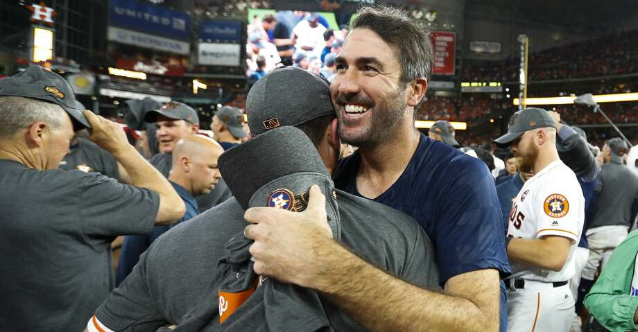 Houston Astros pitcher Justin Verlander celebrates the Astros 4-0 win over the Yankees in Game 7 of the ALCS at Minute Maid Park, Satuday, Oct. 21, 2017, in Houston. ( Karen Warren / Houston Chronicle ) Photo: Karen Warren/Houston Chronicle