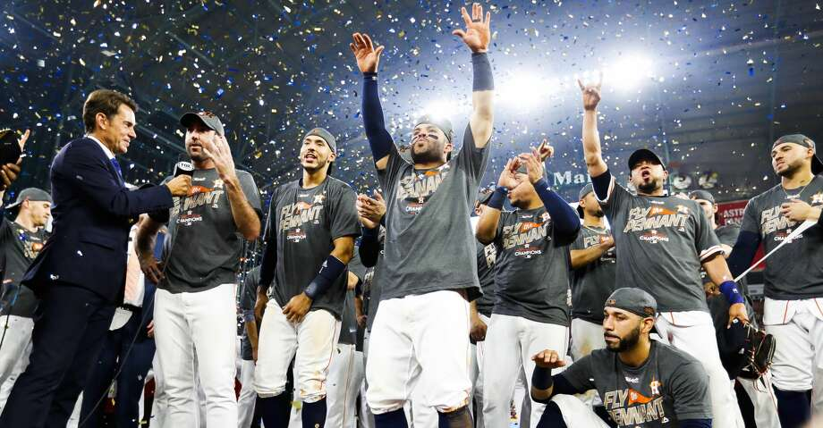 The Astros celebrate their 4-0 win over the Yankees in Game 7 of the ALCS at Minute Maid Park, Satuday, Oct. 21, 2017, in Houston. ( Karen Warren / Houston Chronicle ) Photo: Karen Warren/Houston Chronicle