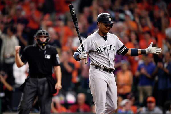 The New York Yankees' Starlin Castro strikes out during Game 7 of the American League Championship Series at Minute Maid Park in Houston, Oct. 21, 2017. (Ben Solomon/The New York Times) ORG XMIT: XNYT84