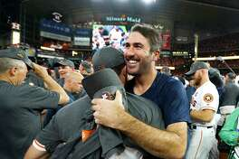 Houston Astros pitcher Justin Verlander celebrates the Astros 4-0 win over the Yankees in Game 7 of the ALCS at Minute Maid Park, Satuday, Oct. 21, 2017, in Houston. ( Karen Warren / Houston Chronicle )