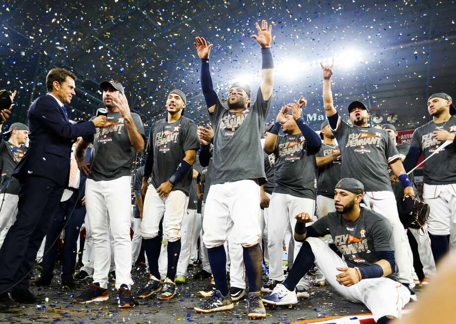 The Astros celebrate their 4-0 win over the Yankees in Game 7 of the ALCS at Minute Maid Park, Satuday, Oct. 21, 2017, in Houston. Photo: Karen Warren/Houston Chronicle