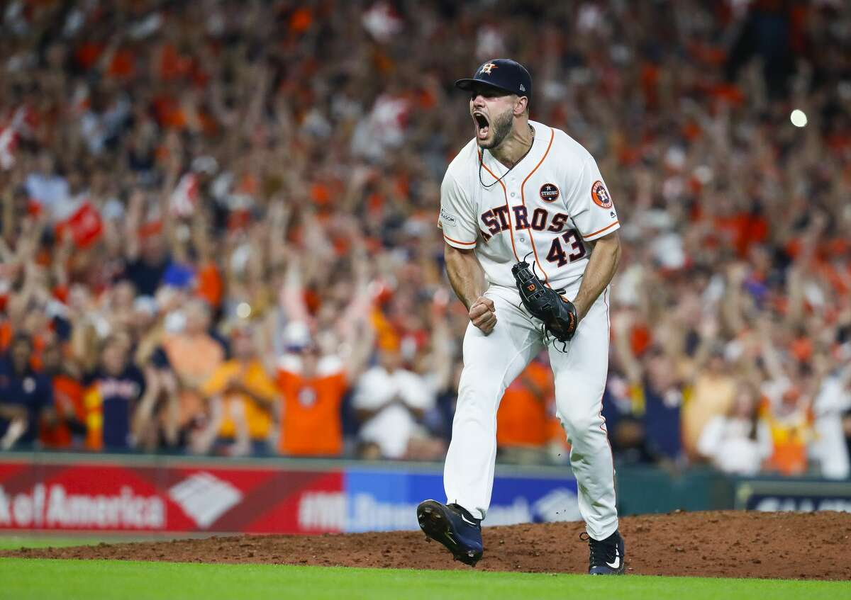 Houston Astros pitcher Lance McCullers Jr. (43) reacts to striking out New York Yankees right fielder Aaron Judge (99) to end the top of the eight inning of Game 7 of the ALCS at Minute Maid Park, Satuday, Oct. 21, 2017, in Houston.