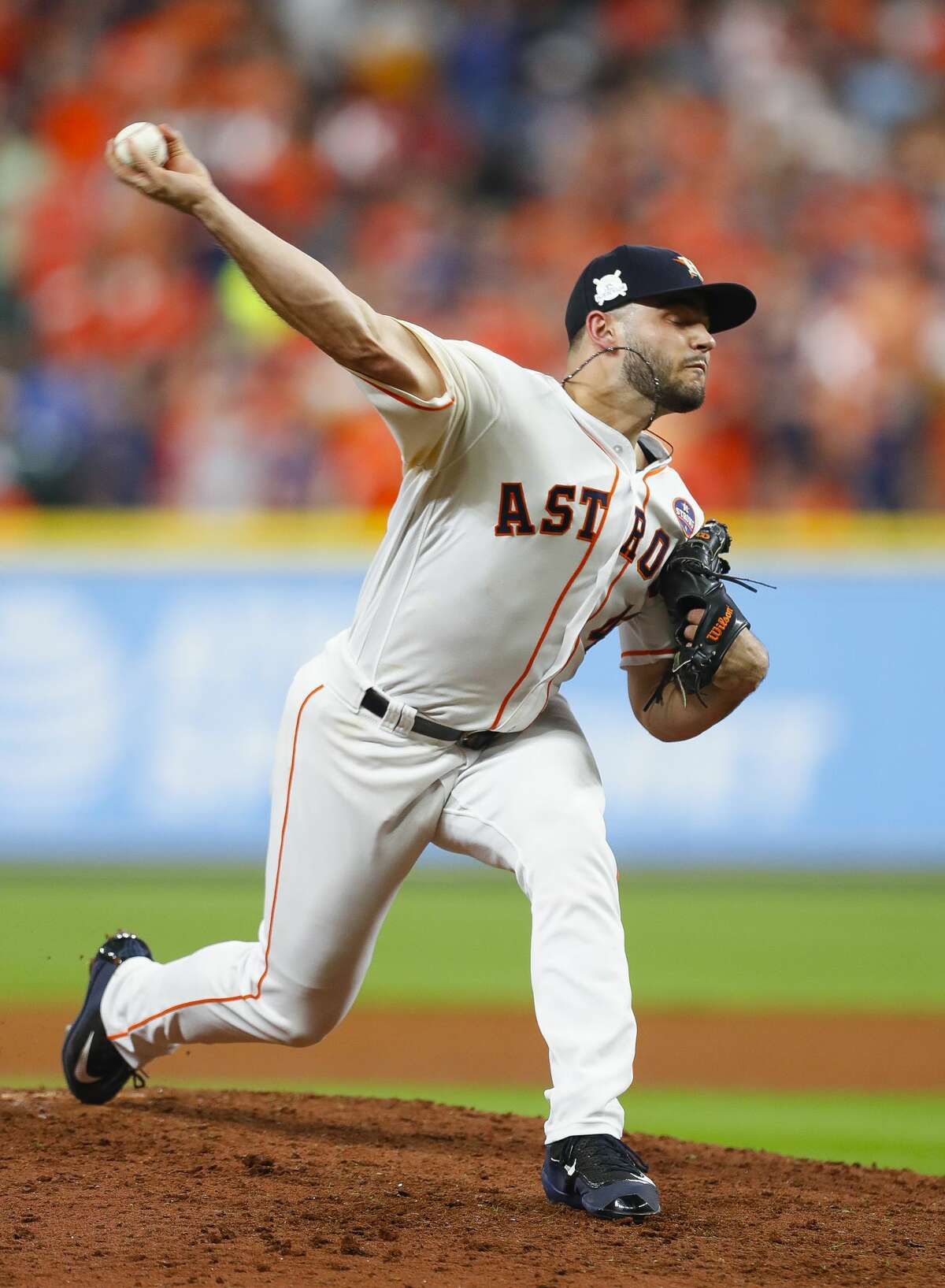 Houston Astros pitcher Lance McCullers Jr. (43) pitches during the sixth inning of Game 7 of the ALCS at Minute Maid Park on Saturday, Oct. 21, 2017, in Houston.