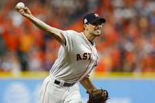 Houston Astros starting pitcher Charlie Morton (50) pitches during the first inning of Game 7 of the ALCS at Minute Maid Park on Saturday, Oct. 21, 2017, in Houston.