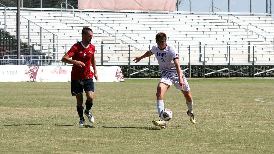 Rafael Montabes scored for the first time this season ending his scoreless drought on his 50th shot as the forward gave TAMIU a 2-1 double-overtime victory over Newman and clinched a spot in the Heartland Conference Tournament. Photo: Courtesy Of TAMIU Athletics
