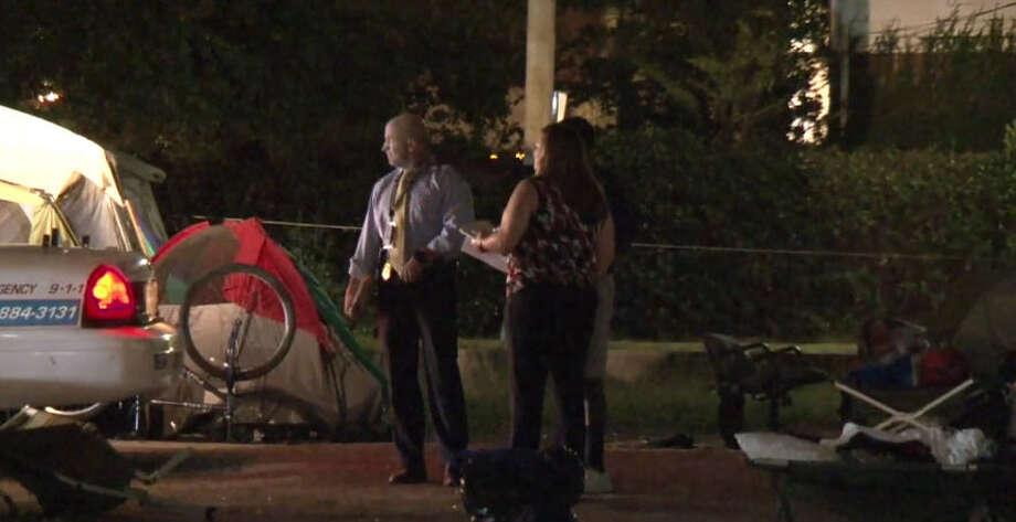 A man was shot to death Sunday morning in a homeless encampment. Photo: Metro Video