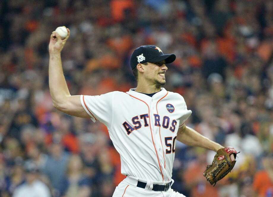 Houston Astros starting pitcher Charlie Morton works against the New York Yankees in Game 7 of the American League Championship Series at Minute Maid Park in Houston on Saturday, Oct. 21, 2017. Morton is a Redding resident. (Howard Simmons/New York Daily News/TNS) Photo: Howard Simmons / TNS / New York Daily News
