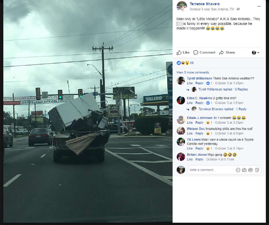 A Facebook user recently captured another example of bad driving in San Antonio. Photo: Facebook Screen Grab