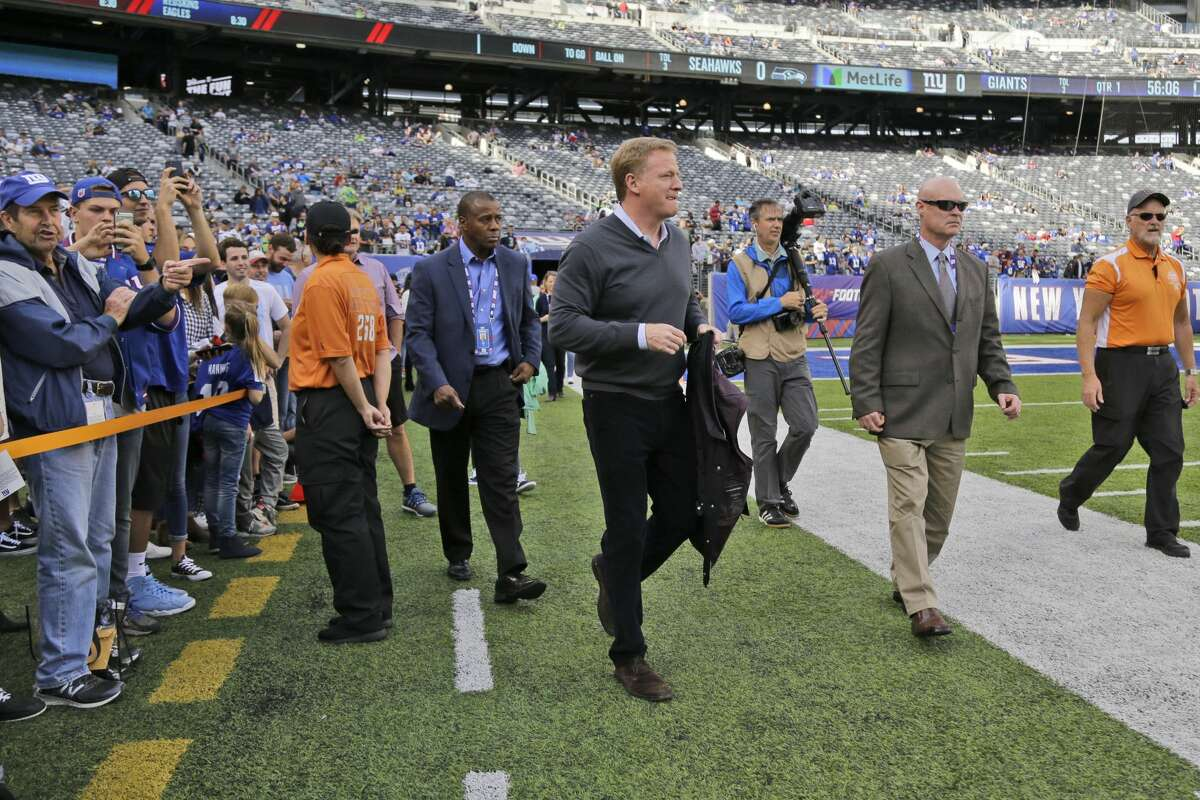 NFL Commissioner Roger Goodell before an NFL football game between the Seattle Seahawks and the New York Giants, Sunday, Oct. 22, 2017, in East Rutherford, N.J. (AP Photo/Julio Cortez)