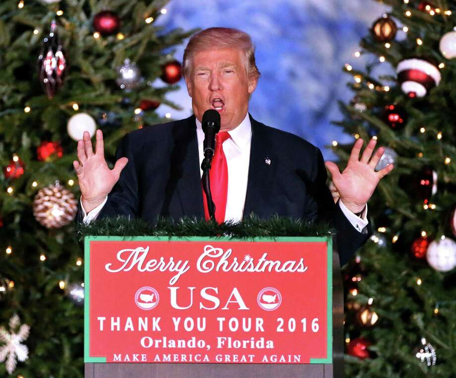 Colbert i king i dont care about merry christmas connecticut post president elect donald trump delivers remarks to cheering supporters in front of a christmas solutioingenieria Gallery
