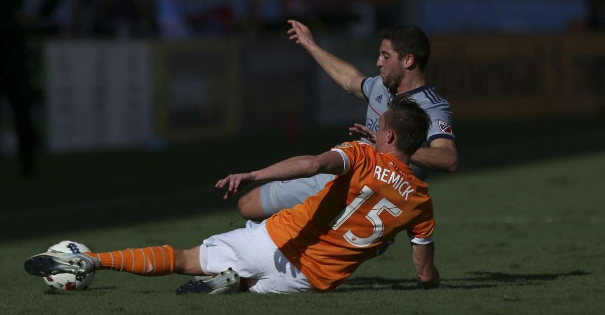 Houston Dynamo defender Dylan Remick (15) gets the ball away from Chicago Fire defender Matt Polster (2) while defensing during the first half of the last MLS regular game at BBVA Compass Stadiujm on Sunday, Oct. 22, 2017, in Houston. ( Yi-Chin Lee / Houston Chronicle )