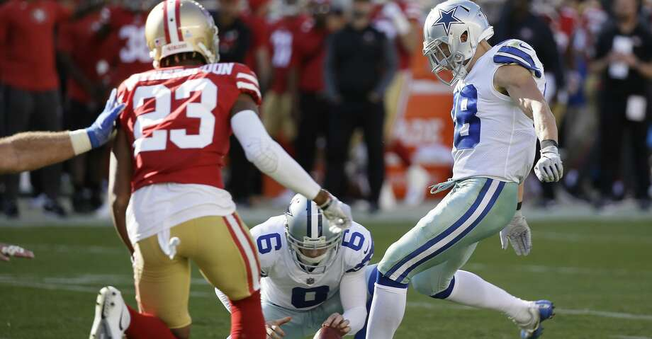 Dallas Cowboys strong safety Jeff Heath (38) kicks a point after try during the second half of an NFL football game against the San Francisco 49ers in Santa Clara, Calif., Sunday, Oct. 22, 2017. (AP Photo/Eric Risberg) Photo: Eric Risberg/Associated Press