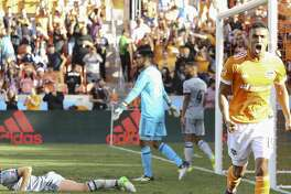 Houston Dynamo forward Mauro Manotas (19) reacts to scoring a goal during the second half of the last MLS regular game at BBVA Compass Stadiujm on Sunday, Oct. 22, 2017, in Houston. The Houston Dynamo defeated the Chicago Fire 3-0. ( Yi-Chin Lee / Houston Chronicle )