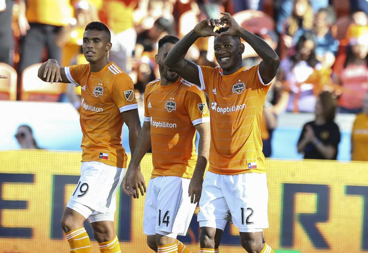 Houston Dynamo forward Romell Quioto (12) makes a heart gesture to celebrate his goal during the second half of the last MLS regular game at BBVA Compass Stadiujm on Sunday, Oct. 22, 2017, in Houston. The Houston Dynamo defeated the Chicago Fire 3-0. ( Yi-Chin Lee / Houston Chronicle )