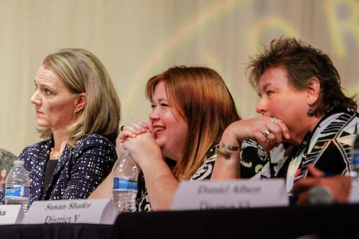 Sue Deigaard, from left, Kara DeRocha and Susan Shafer, candidates for the HISD's Board of Education, during the debate at Lamar High School.   (For the Chronicle/Gary Fountain, October 16, 2017)