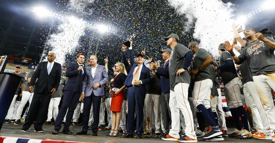 PHOTOS: Astros punch ticket to World SeriesThe Astros celebrate their 4-0 win over the Yankees in Game 7 of the ALCS at Minute Maid Park, Satuday, Oct. 21, 2017, in Houston. ( Karen Warren / Houston Chronicle )Browse through the photos to see action from the Astros' Game 7 win over the Yankees on Saturday. Photo: Karen Warren/Houston Chronicle