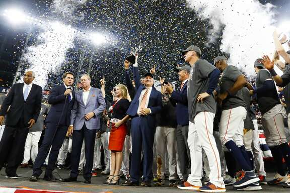 The Astros celebrate their 4-0 win over the Yankees in Game 7 of the ALCS at Minute Maid Park, Satuday, Oct. 21, 2017, in Houston. ( Karen Warren / Houston Chronicle )