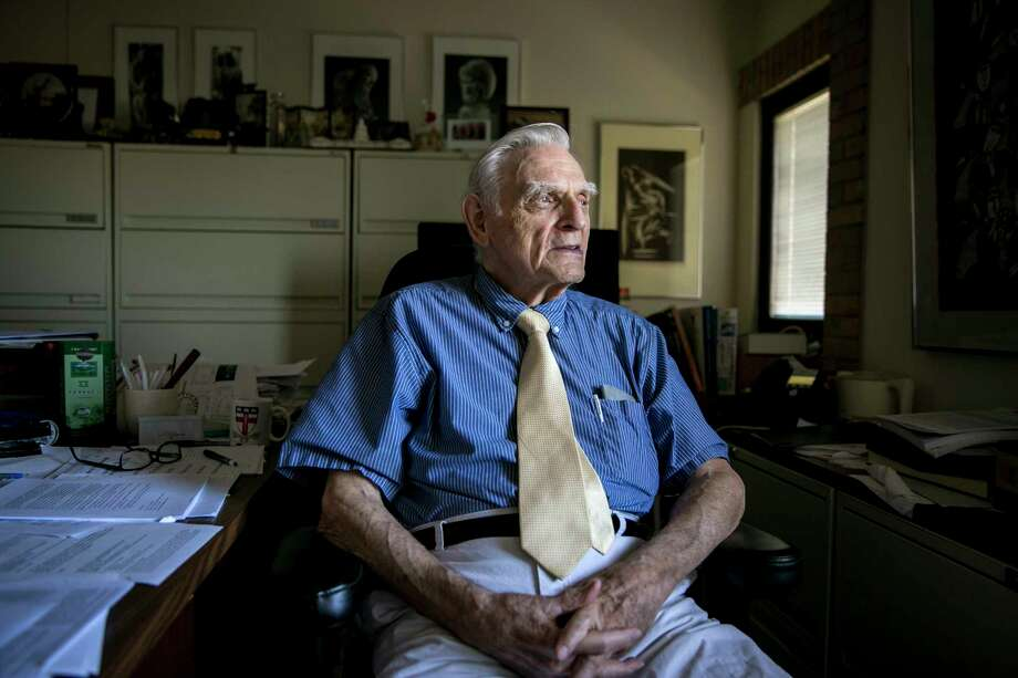 John Goodenough, 95, a professor of engineering at the University of Texas, is developing a battery cell that could transform the electric-car industry. Photo: Ilana Panich-Linsman/For The Houston Chronicle