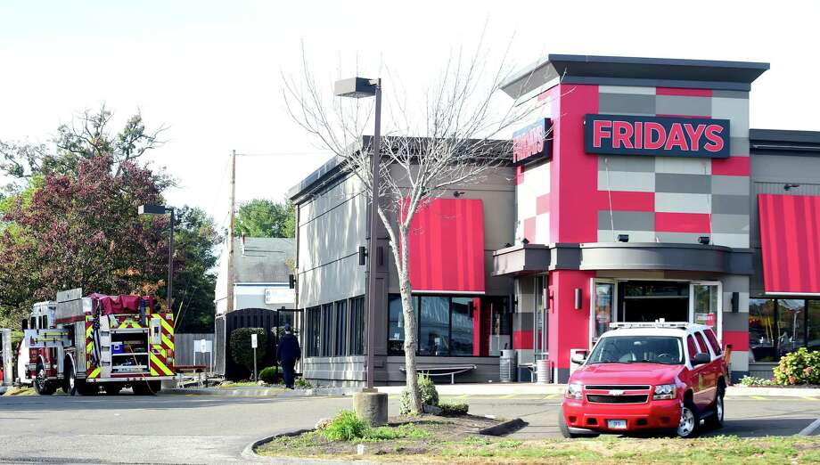 The scene at TGI Fridays on the Post Rd. in Orange on October 22, 2017 after a fire the previous night. Photo: Arnold Gold / Hearst Connecticut Media / New Haven Register