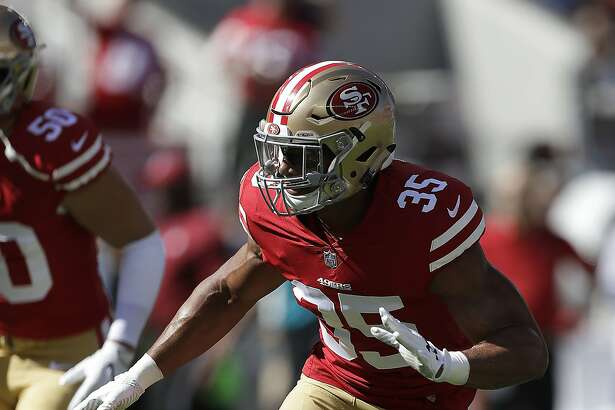 San Francisco 49ers safety Eric Reid (35) warms up before an NFL football game against the Dallas Cowboys in Santa Clara, Calif., Sunday, Oct. 22, 2017. (AP Photo/Marcio Jose Sanchez)