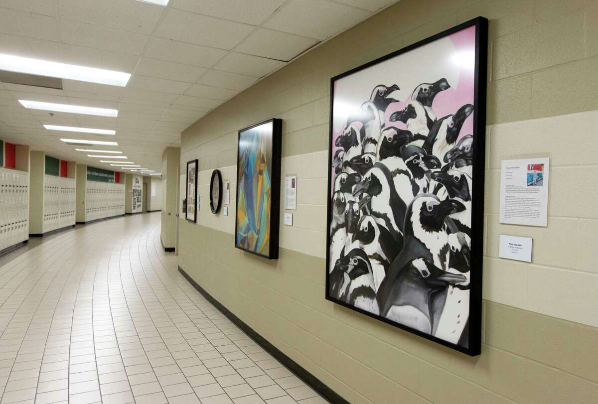 Art pieces purchased by The Woodlands High School Art Trust hang in The Woodlands High School, Wednesday, Oct. 18, 2017, in The Woodlands.