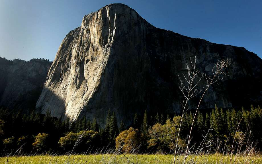 A new speed record for climbing the Nose of El Capitan was set by Brad Gobright and Jim Reynolds. El Capitan is one of the most famous climbs in the world. The Nose, up its nearly vertical center, is the longest climbing route on the peak. Photo: Michael Macor, The Chronicle