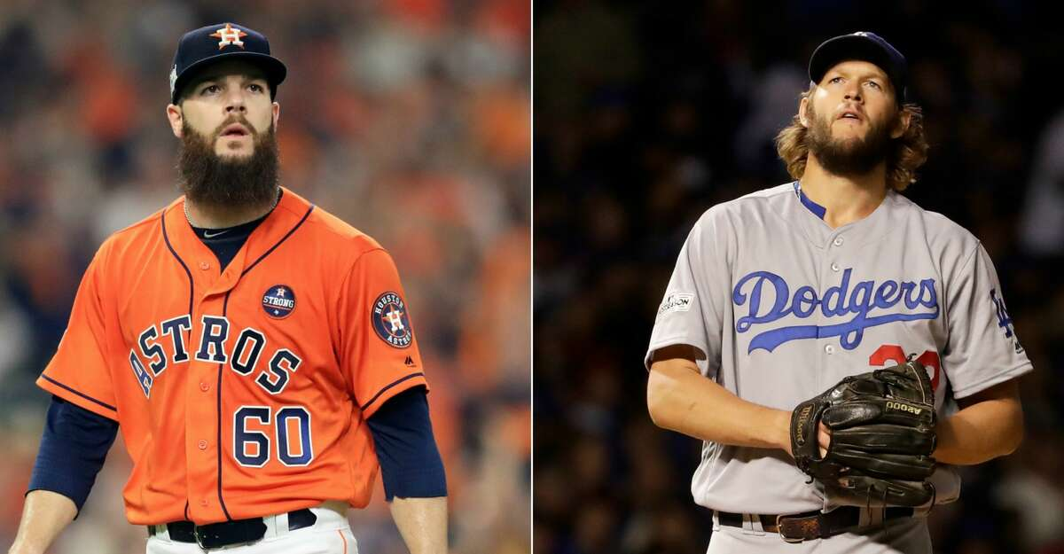 Split photo of Astros' Dallas Keuchel and Dodgers' Clayton Kershaw.
