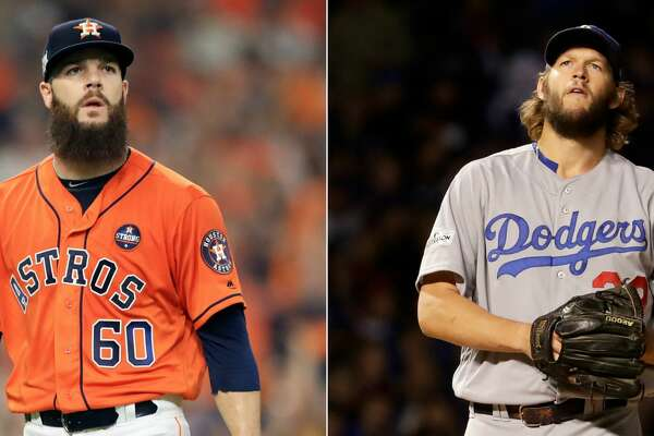 Split photo of Astros' Dallas Keuchel and Dodgers' Clayton Kershaw.