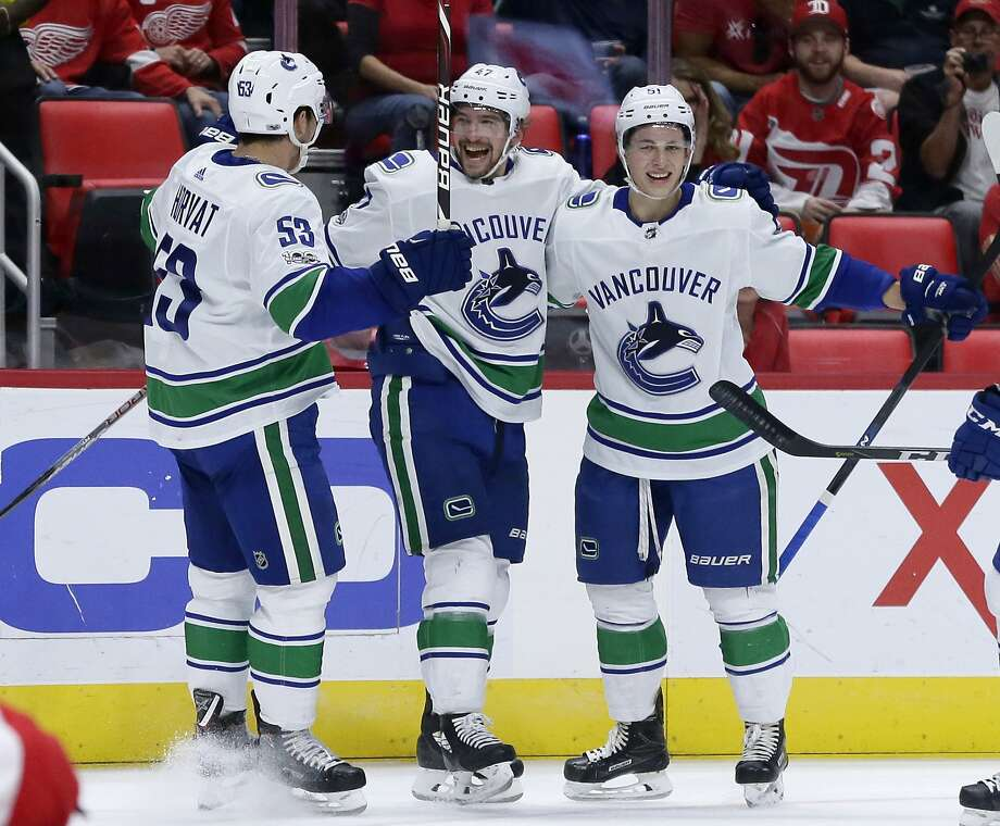 Vancouver Canucks left wing Sven Baertschi (47), of Switzerland, center, celebrates his goal against the Detroit Red Wings with center Bo Horvat (53) and defenseman Troy Stecher, right, during the first period of an NHL hockey game Sunday, Oct. 22, 2017, in Detroit. (AP Photo/Duane Burleson) Photo: Duane Burleson, Associated Press