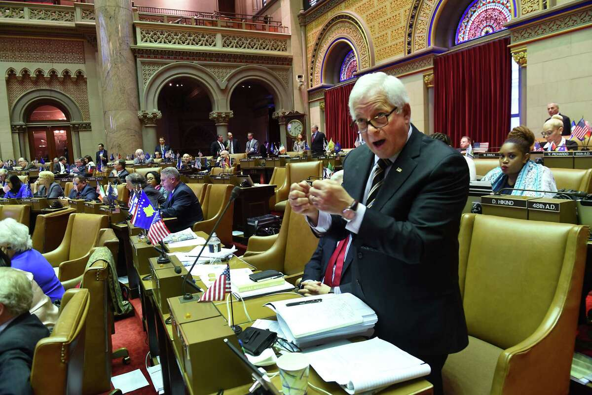 New York State Assembymember Charles Lavine, representing District 13, voices his opinion during a vote on a budget extender at the Capitol on Monday, April 3, 2017 in Albany, N.Y. (Lori Van Buren / Times Union)