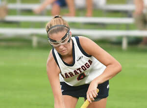 Saratoga's Lindsey Frank hits the ball during a field hockey game against Shenendehowa on Monday, Sept. 18, 2017 in Saratoga Spring, N.Y. (Lori Van Buren / Times Union)