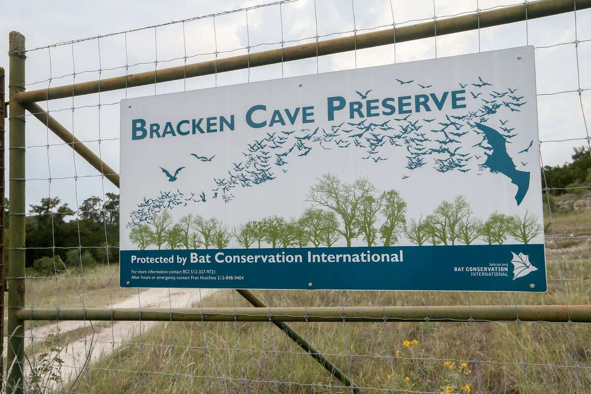 A sign on an interior fence at Bracken Cave Preserve.