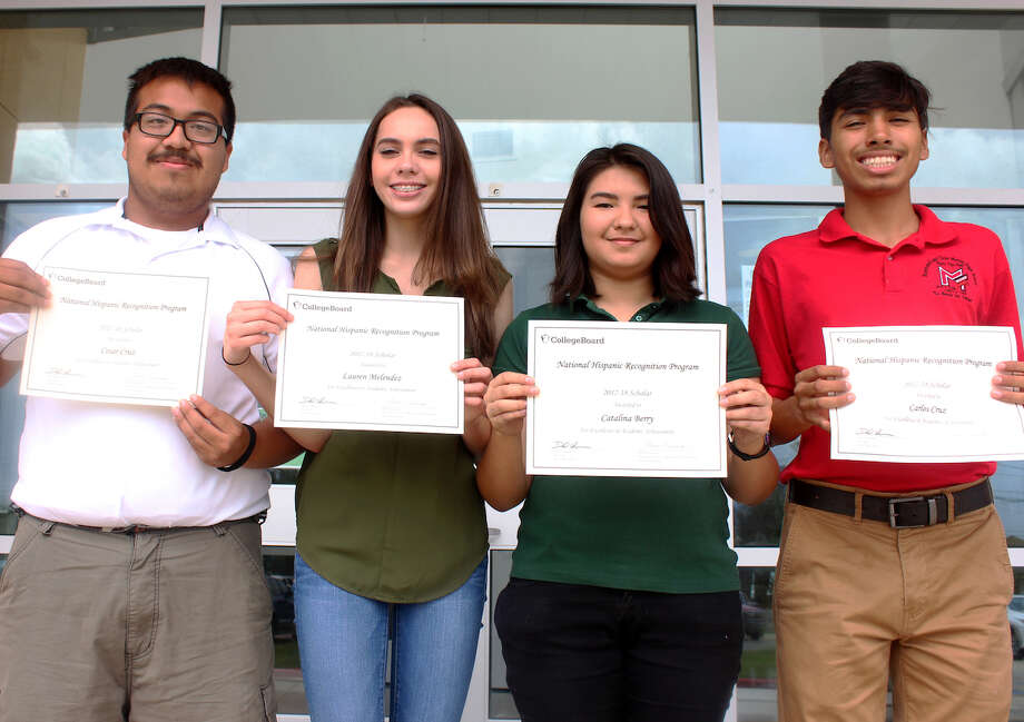 Four LISD students were selected as National Hispanic Scholars by the College Board. Pictured from left are Cesar Cruz of the Garcia Early College High School, Lauren Melendez of Nixon High School and the Vidal M. Trevino School of Communications and Fine Arts, Catalina Berry of Nixon High School and VMT, and Carlos Cruz of Martin High School and VMT. Photo: Laredo ISD/Courtesy