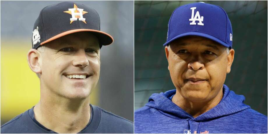 On Tuesday night, mere minutes before Game 1 of the World Series at Dodger Stadium, A.J. Hinch, 43, and Dave Roberts, 45, will convene at home plate with the umpiring crew for the customary exchange of lineup cards. Photo: AP/Getty