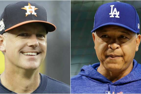 Split photo of Houston Astros and Los Angeles Dodgers players.