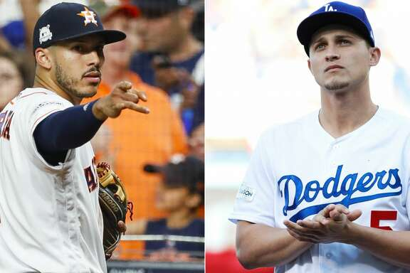 A split photo of Astros and Dodgers players.