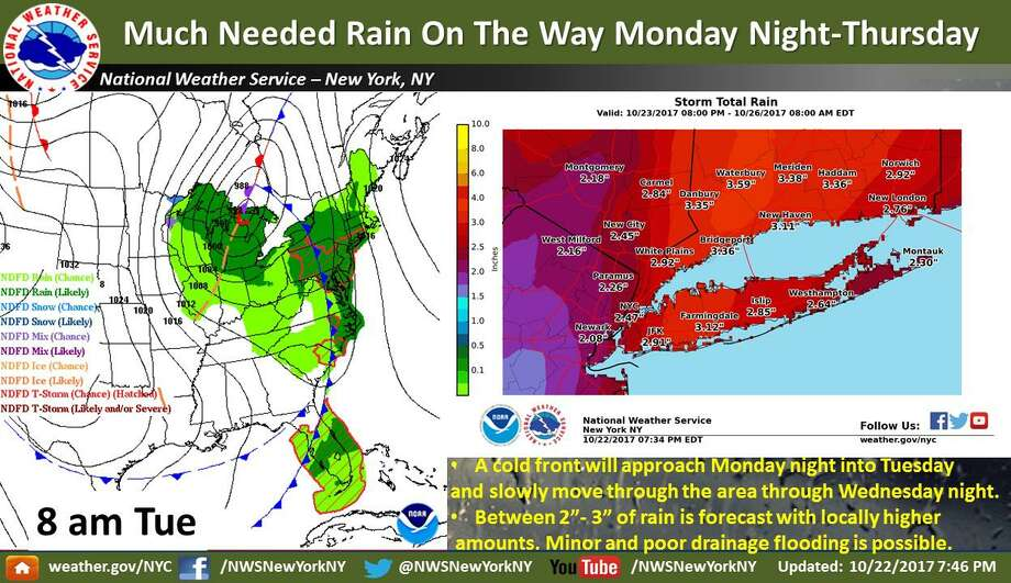 Several inches of rain, gusty winds expected - Connecticut Post