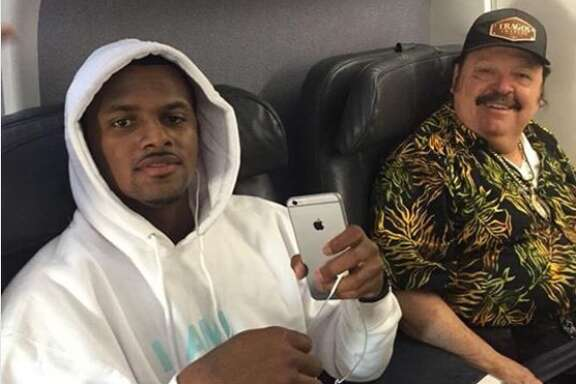 Ramon Ayala tweeted a photo of himself seated beside Deshaun Watson on a plane Sunday night, saying he was headed home from California and Arizona.