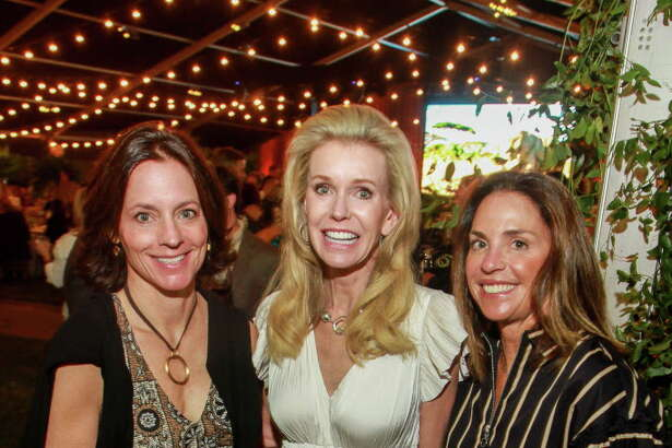 Katie Johnson, from left, Terrell Sprague and Nancy Randall at the Houston Conservation Gala.  (For the Chronicle/Gary Fountain, October 18, 2017)