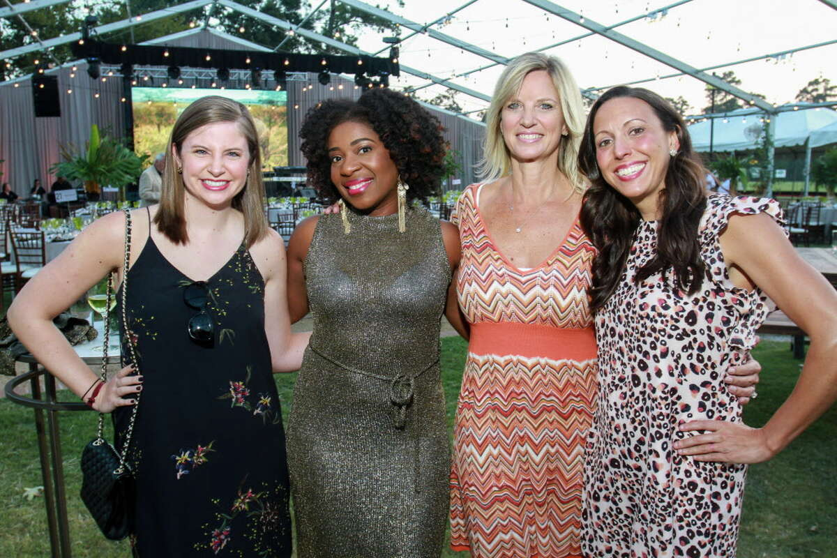 Alex Cheramie from left, Clarenda Stanley-Anderson, Renee King and Kara Kokotas-Smith at the Houston Conservation Gala at he Houston Polo Club. (For the Chronicle/Gary Fountain, October 18, 2017)