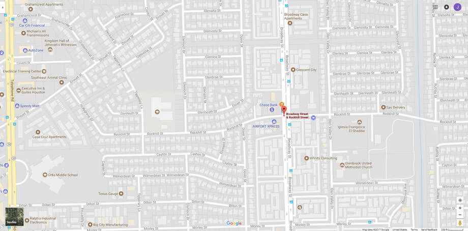 A screenshot of a Google Maps image of the intersection of Broadway and Rockhill in Houston, Texas. On Oct. 23, 2017, a car struck two HISD students who were walking to Lewis Elementary nearby. Photo: File/Google