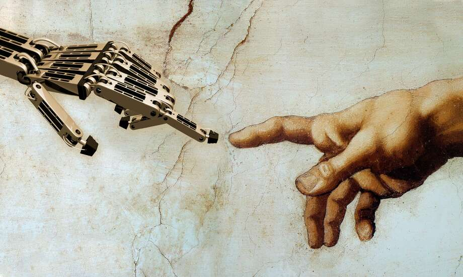 Michelangelo's iconic image of God giving life to Adam is reimagined for the robotic age. Here, God gives life to a robot, a new kind of futuristic Adam. Photo: Mike Agliolo/Getty Images/Science Source