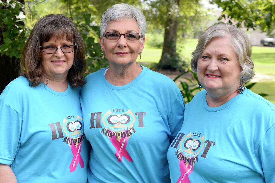 Friends and neighbors Gale Westmoreland, Diana Beaumont and Evelyn Sims have all battled breast cancer over the past two years. Sims was diagnosed first October 2015, and  Beaumont was diagnosed shortly after she finished treatment in April 2016. Westmoreland was diagnosed this March, a week after Beaumont finished her treatment.   Photo taken Wednesday 9/20/17 Ryan Pelham/The Enterprise Photo: Ryan Pelham / ©2017 The Beaumont Enterprise/Ryan Pelham