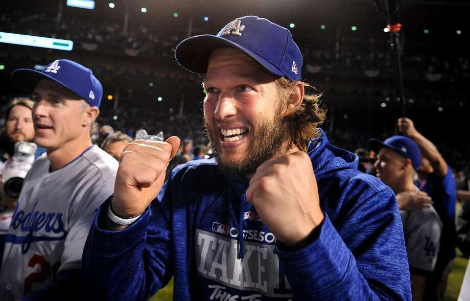 The Los Angeles Dodgers' Clayton Kershaw celebrates a series-clinching 5-1 win against the Chicago Cubs in Game 5 of the National League Championship Series at Wrigley Field in Chicago on Thursday, Oct. 19, 2017. (Wally Skalij/Los Angeles Times/TNS) Photo: Wally Skalij, TNS