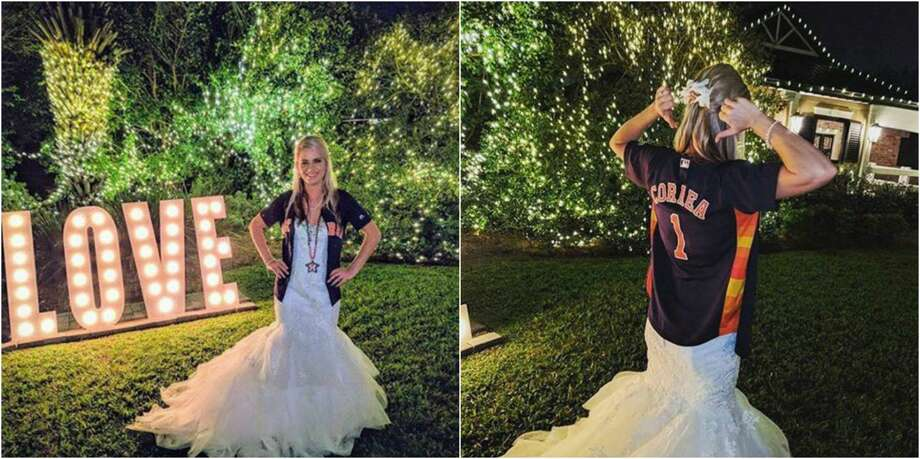 Astros super fan Devan Ohl could not pass up the opportunity to show off her team pride, even at her wedding Saturday in New Orleans. Photo: Devan Ohl