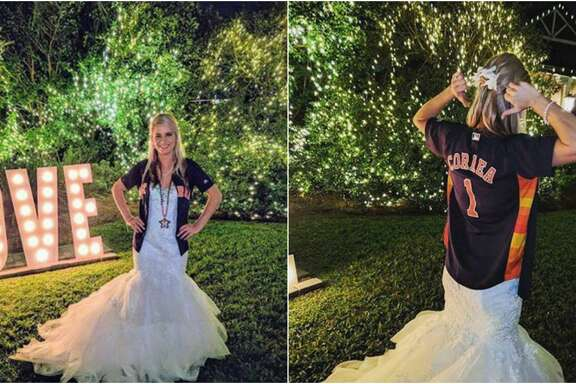 Astros super fan Devan Ohl could not pass up the opportunity to show off her team pride, even at her wedding Saturday in New Orleans.