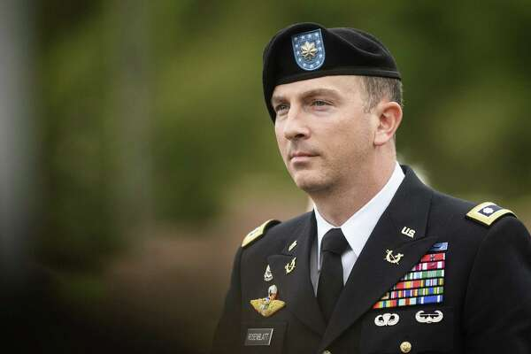 Sgt. Bowe Bergdahl's military attorney, Lt. Col. Franklin Rosenblatt, leaves the Fort Bragg courthouse after a sentencing hearing on Monday, Oct. 23, 2017, on Fort Bragg, N.C. Sentencing for Bergdahl on charges of desertion and misbehavior before the enemy was set to begin Monday, but the judge instead heard arguments about a last-minute Trump-related motion. The sentencing case is scheduled to resume on Wednesday. (Andrew Craft/The Fayetteville Observer via AP)