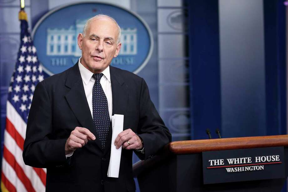 White House Chief of Staff John Kelly speaks to the media during the daily briefing in the Brady Press Briefing Room of the White House on Oct. 19, 2017 in Washington, D.C. (Oliver Contreras/Sipa USA/TNS) Photo: Olivier Contreras, MBR / Sipa USA