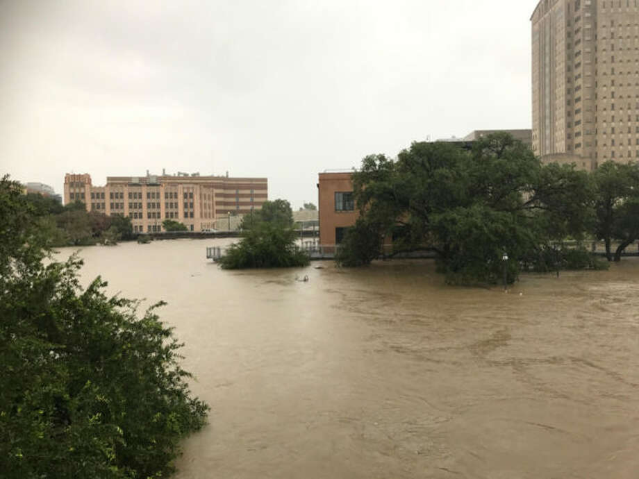 The floodwaters from Harvey at the confluence of White Oak and Buffalo Bayous surround the Sunset Coffee Building. Photo: Buffalo Bayou Partnership