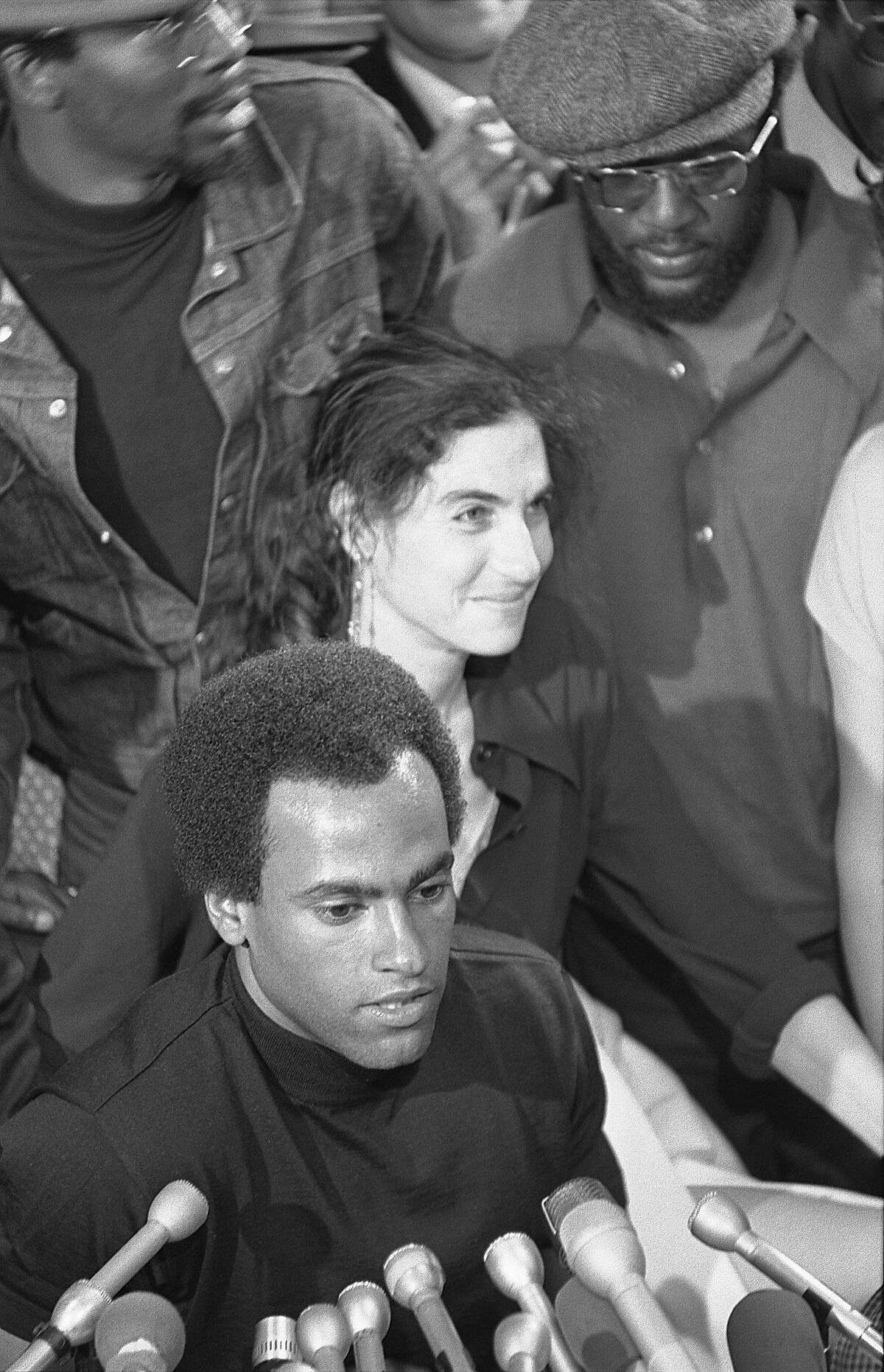 Black Panther Huey Newton with his lawyer, Fay Stender, in San Francisco at Charles Garry's office, August 5, 1970 the day he was released from prison